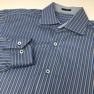 Bugatchi Uomo Long Sleeve Button Front Striped